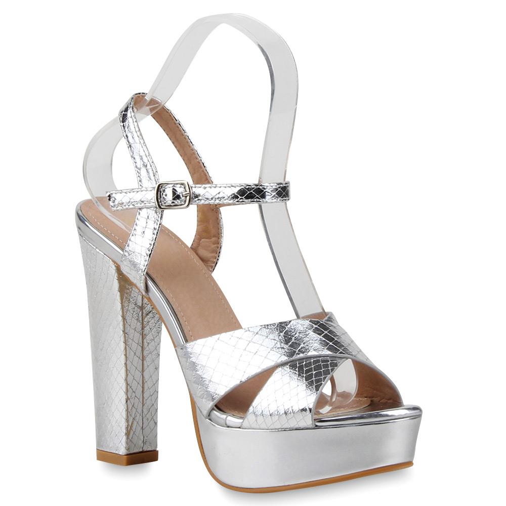 damen party sandaletten metallic plateau high heels 75626 top ebay. Black Bedroom Furniture Sets. Home Design Ideas