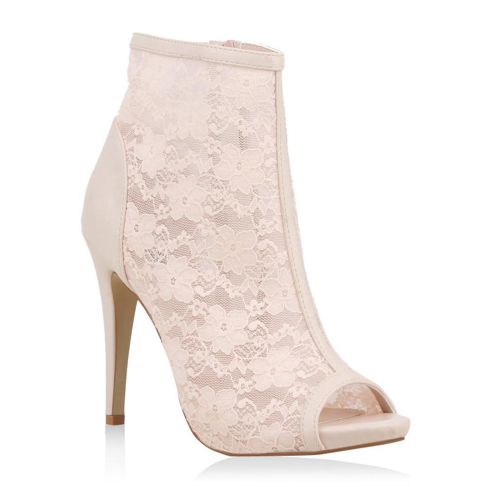 Damen Sandal Boots Schaftsandaletten Spitze High Heels 75655