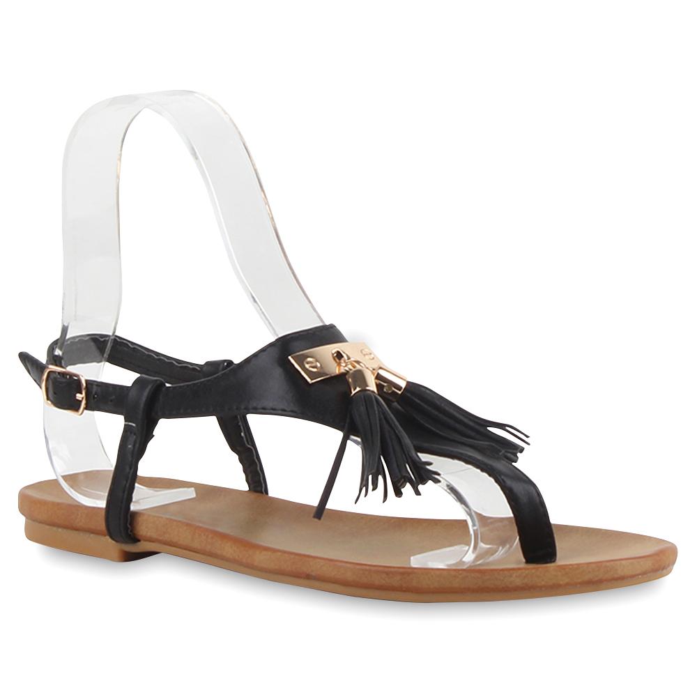 damen sandalen zehentrenner quasten flats schuhe 75674 ebay. Black Bedroom Furniture Sets. Home Design Ideas