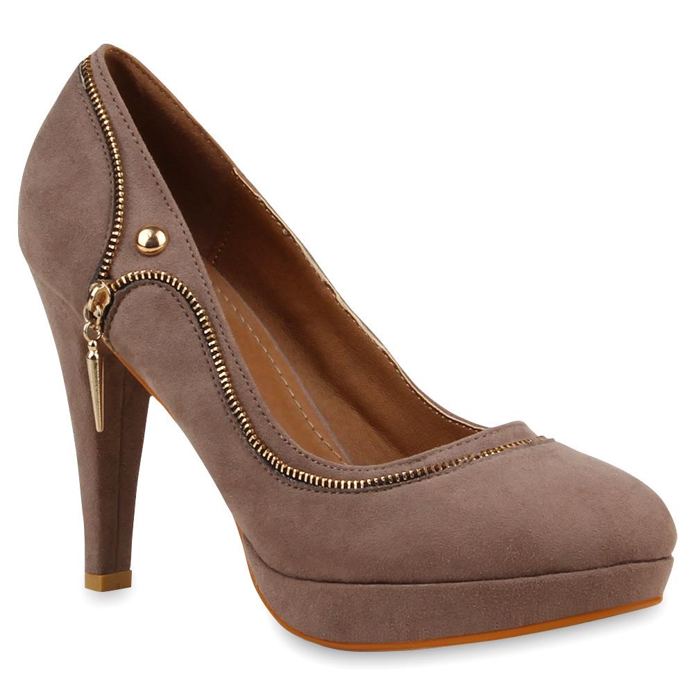 extravagante damen pumps high heels zipper nieten schuhe 75856 ebay. Black Bedroom Furniture Sets. Home Design Ideas