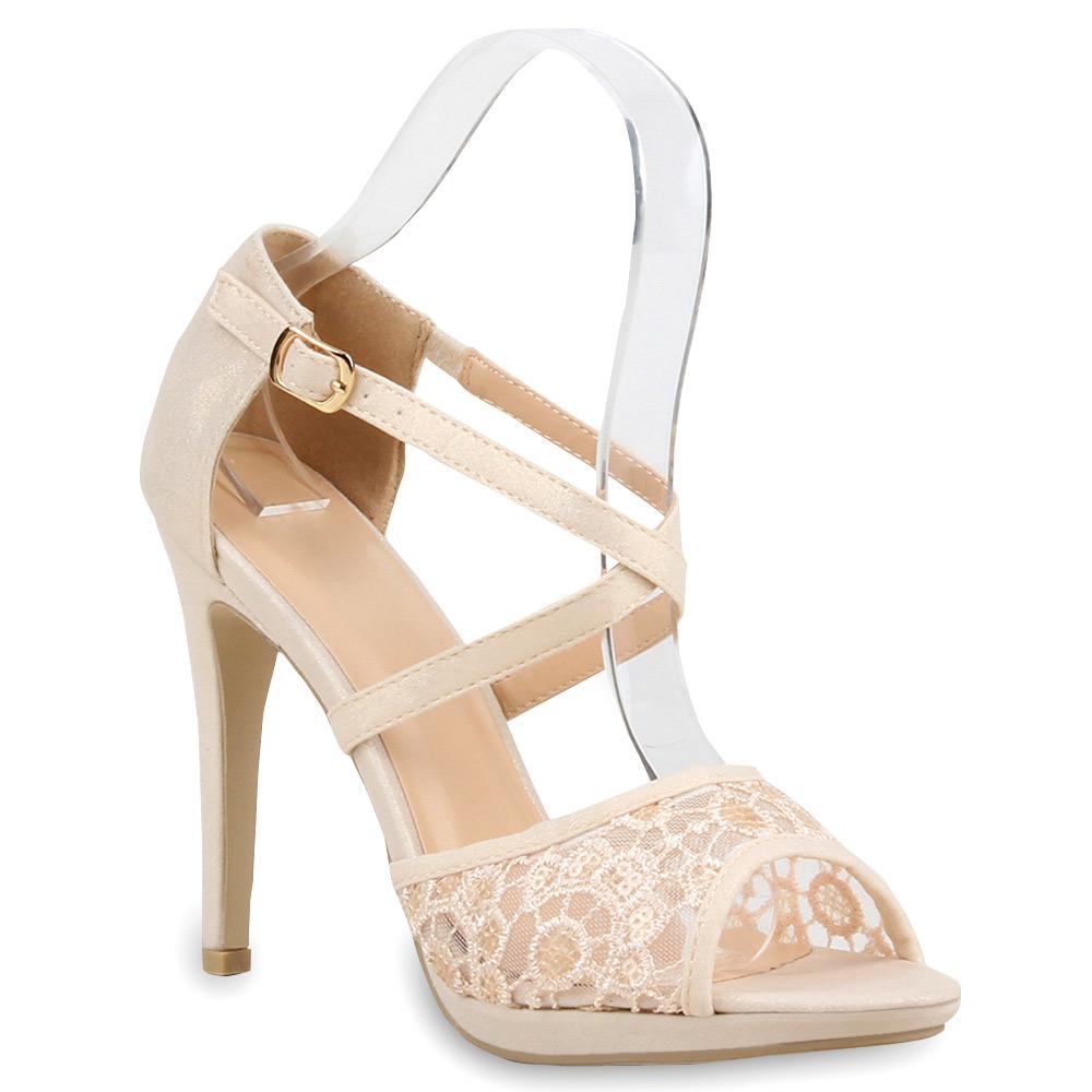 damen sandaletten high heels spitze pailletten stiletto schuhe 75869 ebay. Black Bedroom Furniture Sets. Home Design Ideas