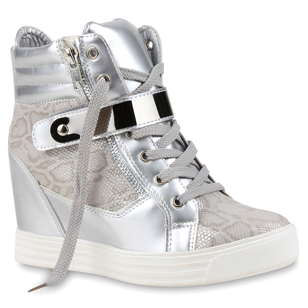 damen sneaker wedges keilabsatz sneakers lack metallic 75946 ebay. Black Bedroom Furniture Sets. Home Design Ideas