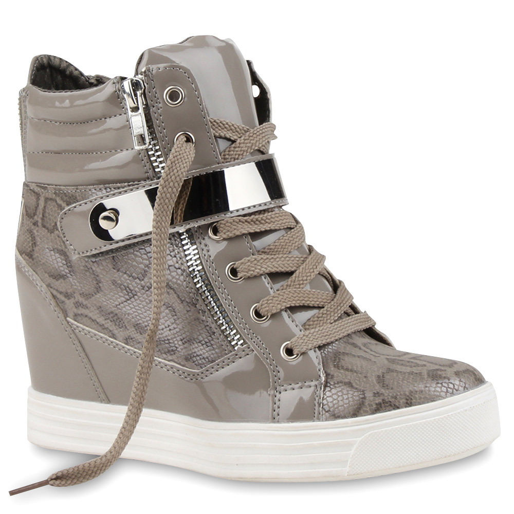 damen sneaker wedges keilabsatz sneakers lack metallic 75946 hot ebay. Black Bedroom Furniture Sets. Home Design Ideas