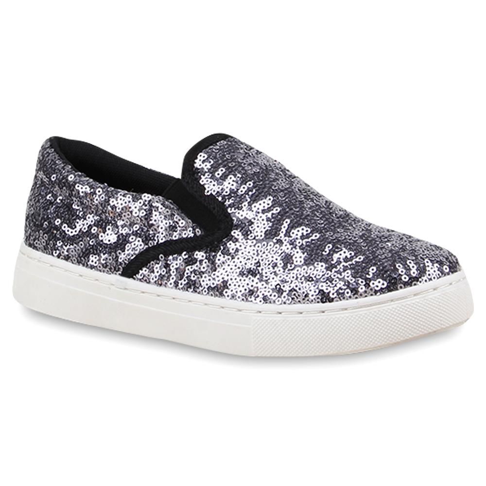 damen pailletten sneakers slip ons glitzer slipper 75977 top. Black Bedroom Furniture Sets. Home Design Ideas