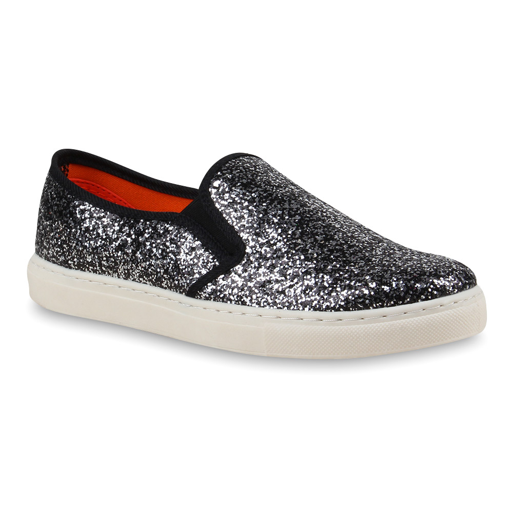damen sneakers slippers slip ons metallic glitzer bequeme. Black Bedroom Furniture Sets. Home Design Ideas