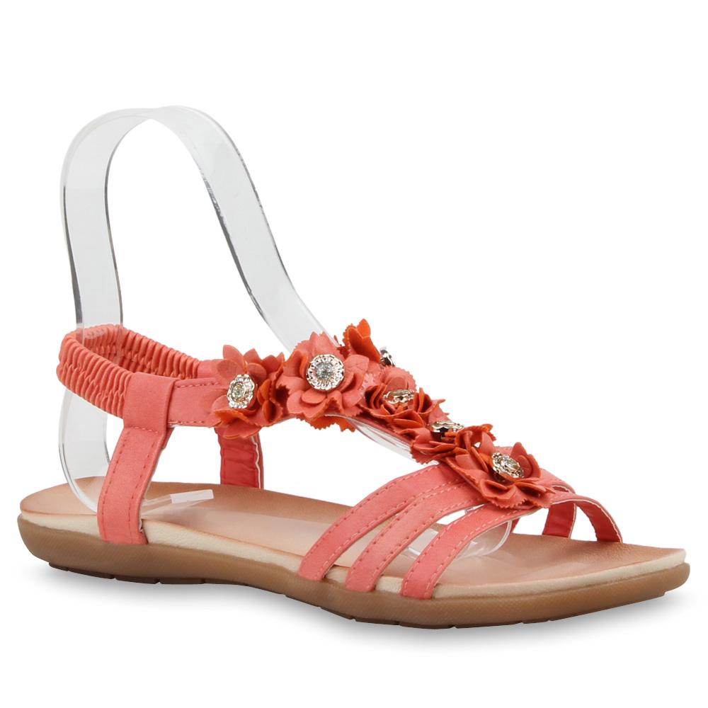 Damen Riemchensandalen Strass Blumen Bequeme Sommer Schuhe 76215 Trendy