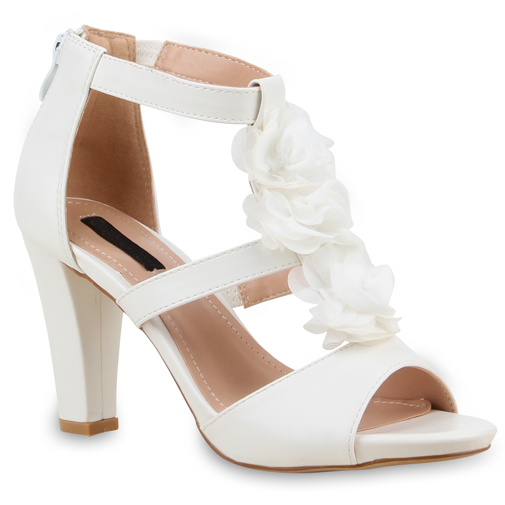 damen sandaletten blumen high heels brautschuhe hochzeit. Black Bedroom Furniture Sets. Home Design Ideas