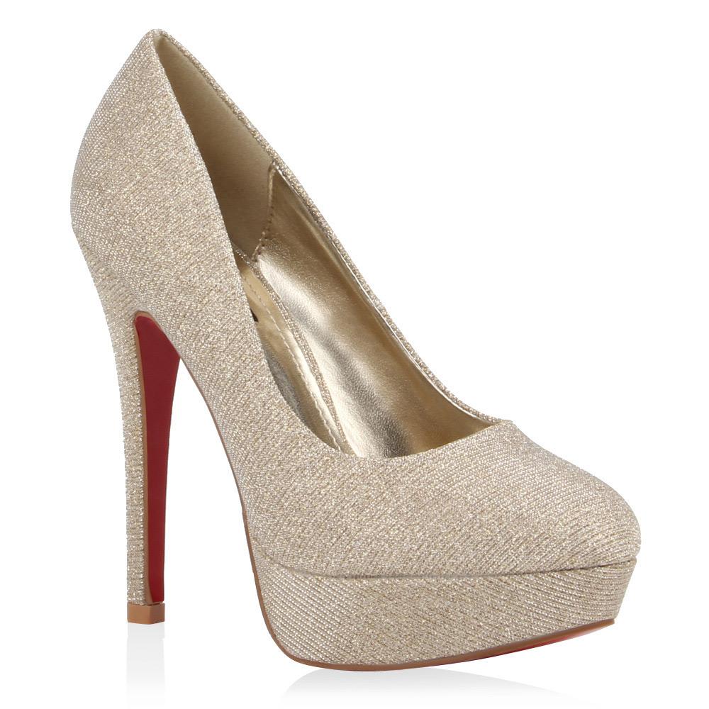 damen pumps glitzer high heels plateau schuhe party 76791 trendy ebay. Black Bedroom Furniture Sets. Home Design Ideas