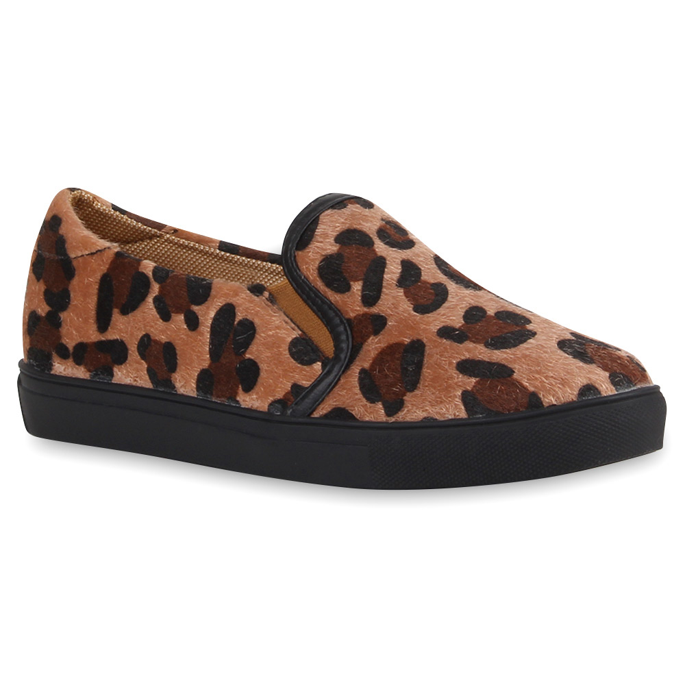 damen sneakers slip ons animal print slipper schuhe 76867. Black Bedroom Furniture Sets. Home Design Ideas