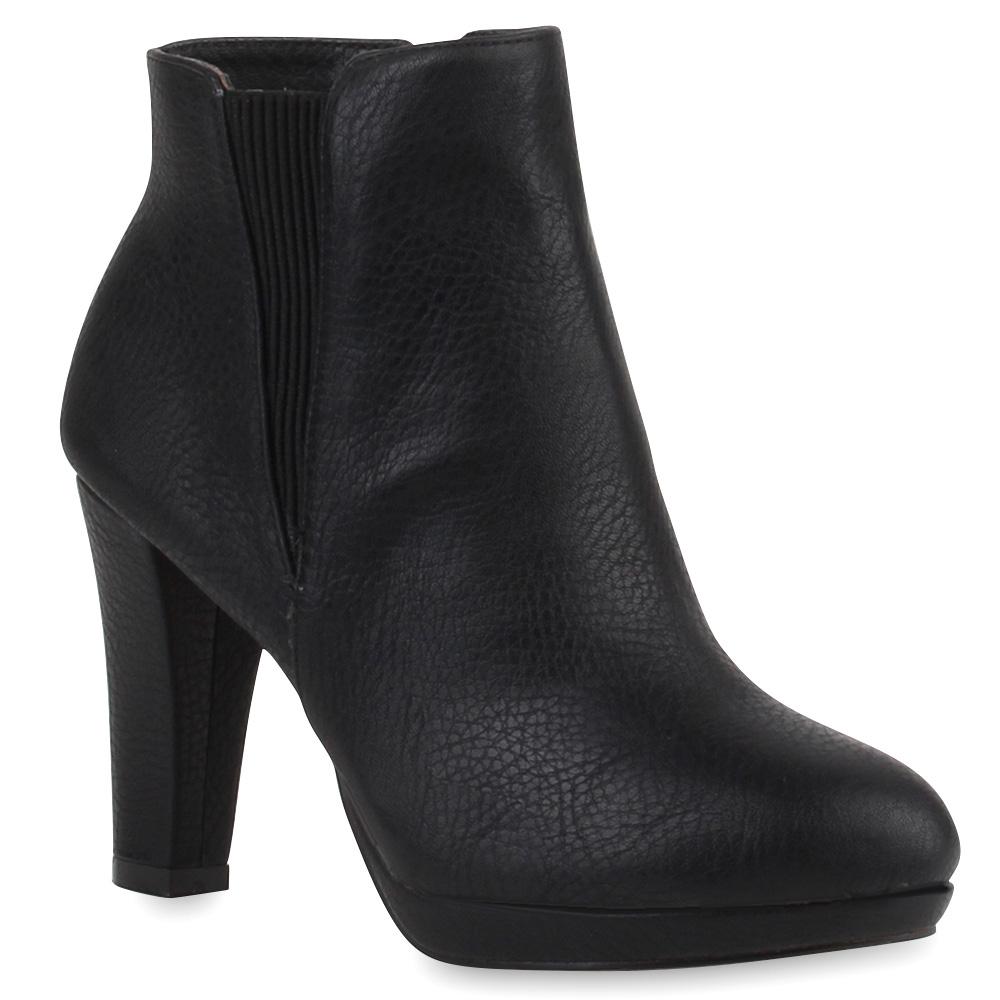 Damen Stiefeletten 70's Style Boots Plateau Schuhe 76943