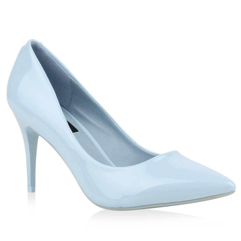 Spitze Lack Pumps Stilettos Pastell High Heels Schuhe 76944