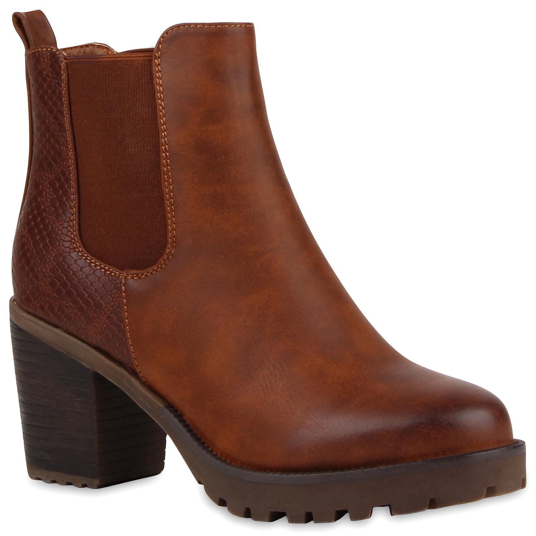 Damen Stiefeletten Chelsea Boots Profilsohle Schuhe 76964