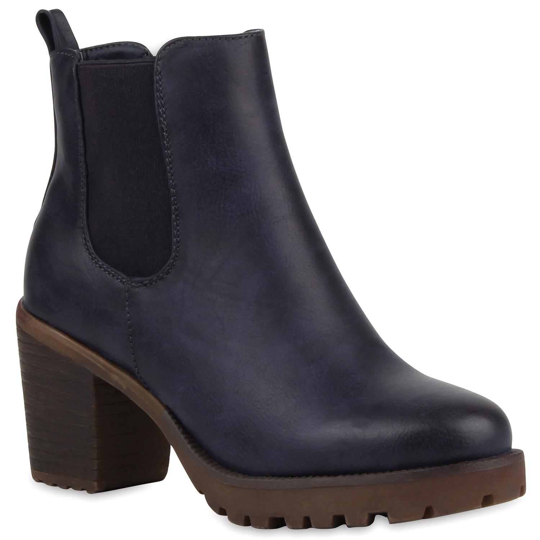 Damen Stiefeletten Chelsea Boots Profilsohle Blockabsatz Schuhe 76976 New Look