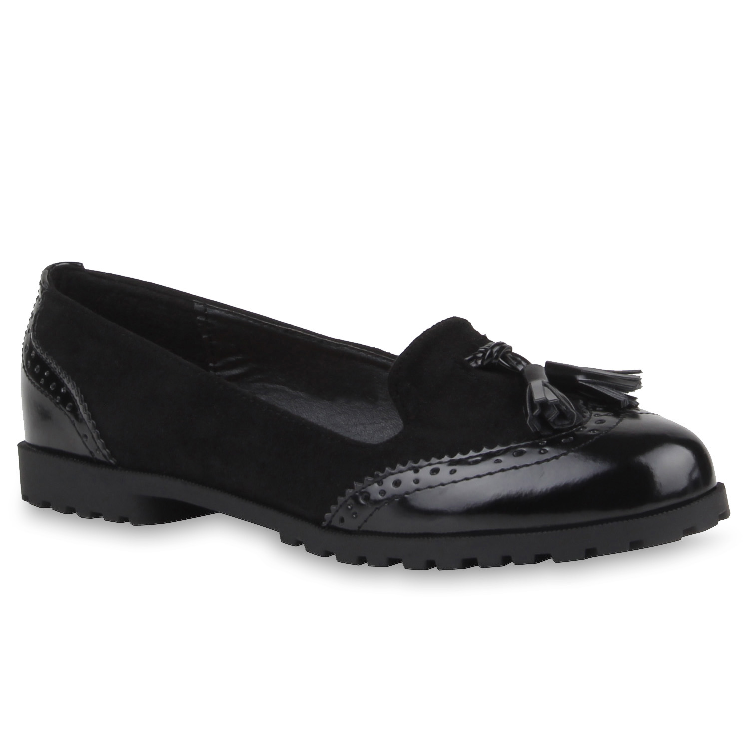 damen slipper loafers tasselloafer quasten lack flats 77011 ebay. Black Bedroom Furniture Sets. Home Design Ideas