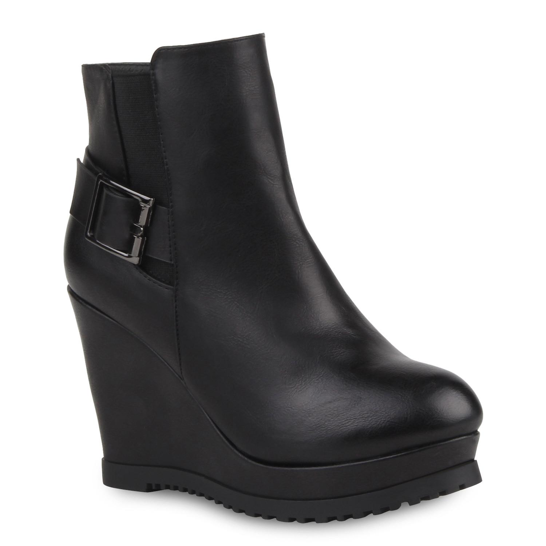 Damen Stiefeletten Keilabsatz Plateau Keilstiefeletten 70's Boots 77044 Trendy