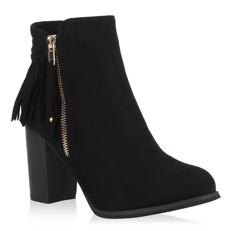 damen stiefeletten ankle boots blockabsatz schuhe fransen. Black Bedroom Furniture Sets. Home Design Ideas