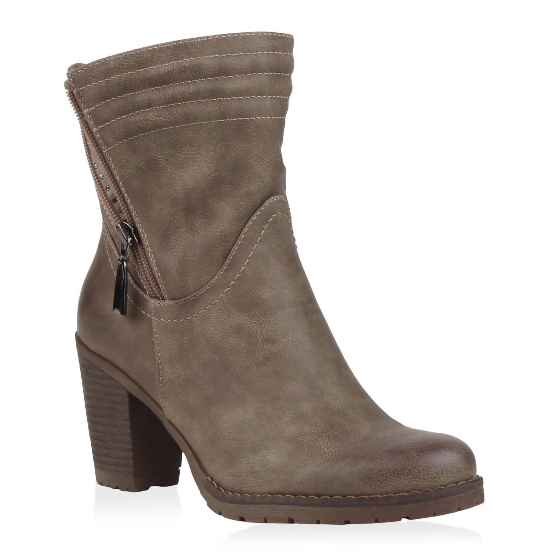 damen stiefeletten weitschaft blockabsatz boots profilsohle 77076 ebay. Black Bedroom Furniture Sets. Home Design Ideas