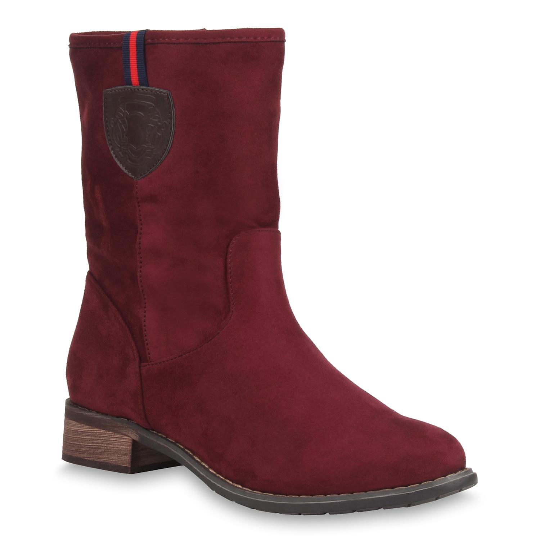 klassische damen stiefeletten flache boots stiefel 77144. Black Bedroom Furniture Sets. Home Design Ideas