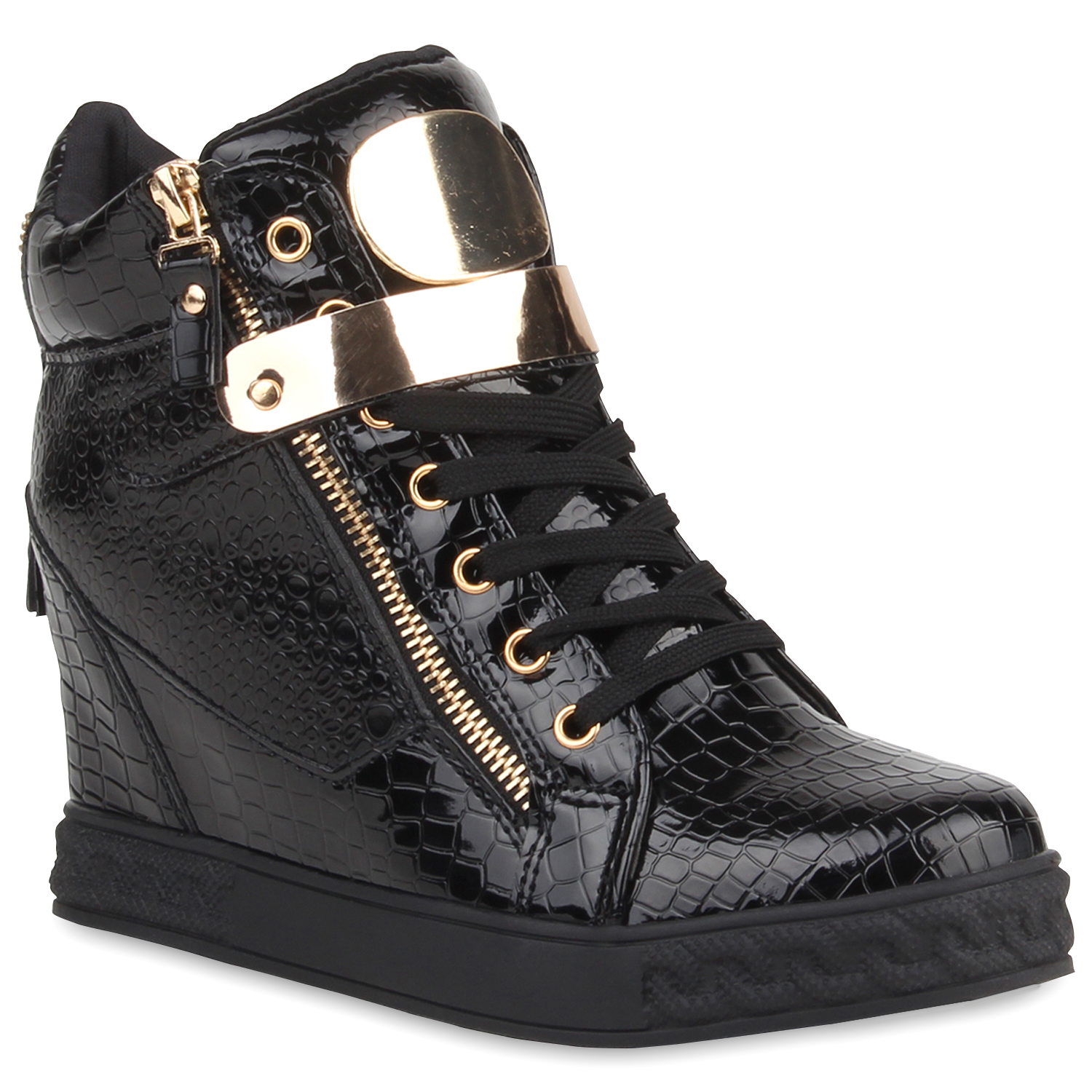 damen sneakers keilabsatz sneaker wedges lack metallic. Black Bedroom Furniture Sets. Home Design Ideas