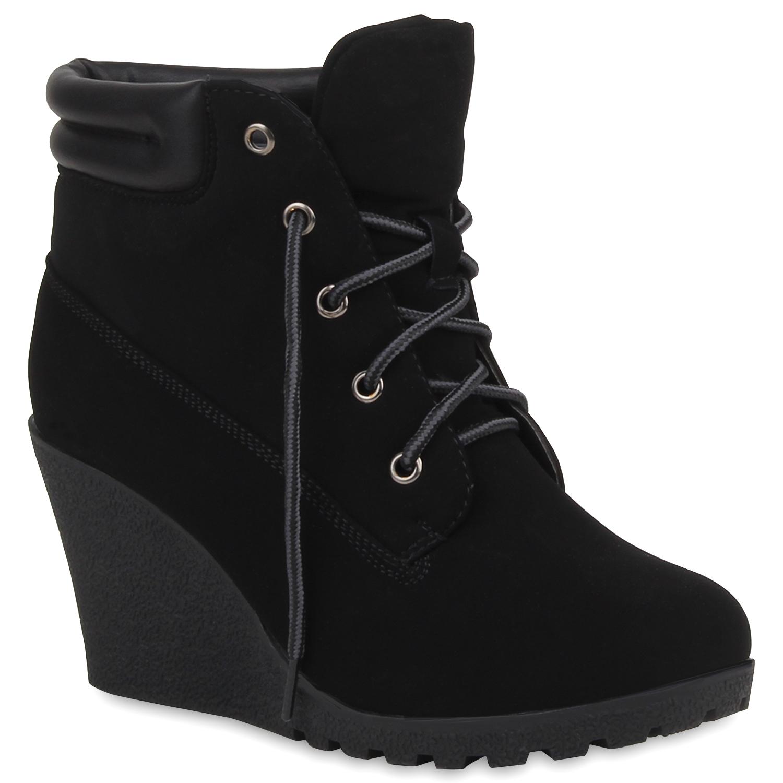 gef tterte stiefeletten keilabsatz profilsohle boots. Black Bedroom Furniture Sets. Home Design Ideas