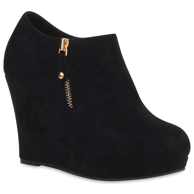 damen stiefeletten keilabsatz ankle boots keilstiefeletten. Black Bedroom Furniture Sets. Home Design Ideas