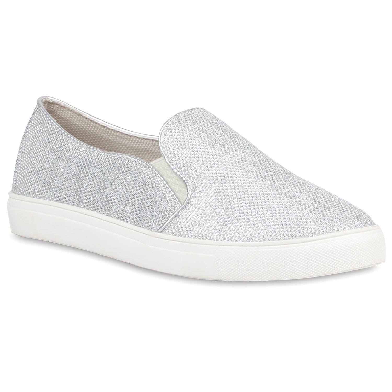 Glnzende Damen Sneakers Low Glitzer Turnschuhe 816079 New Look