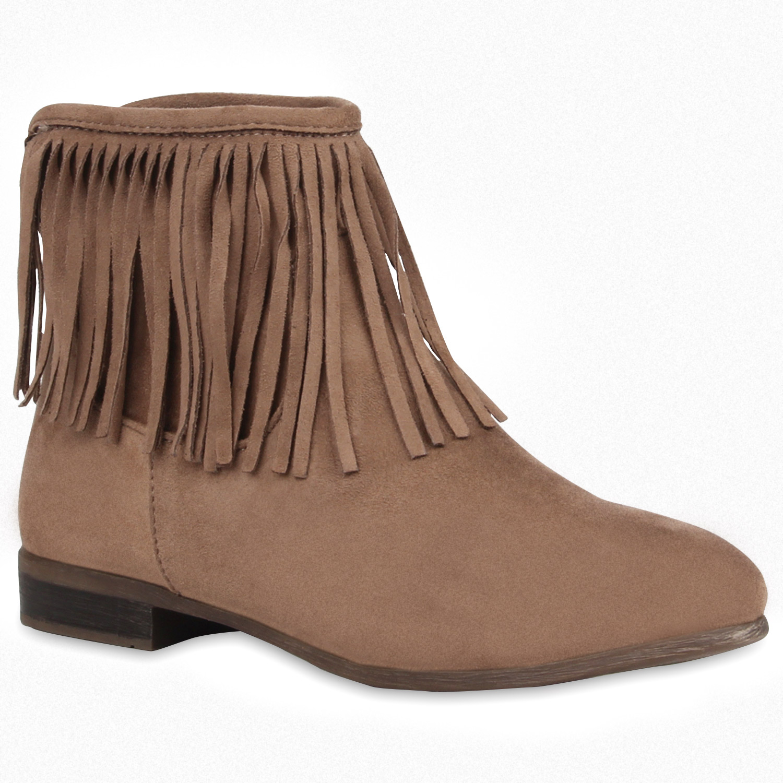 flache damen stiefeletten fransen boots schuhe. Black Bedroom Furniture Sets. Home Design Ideas