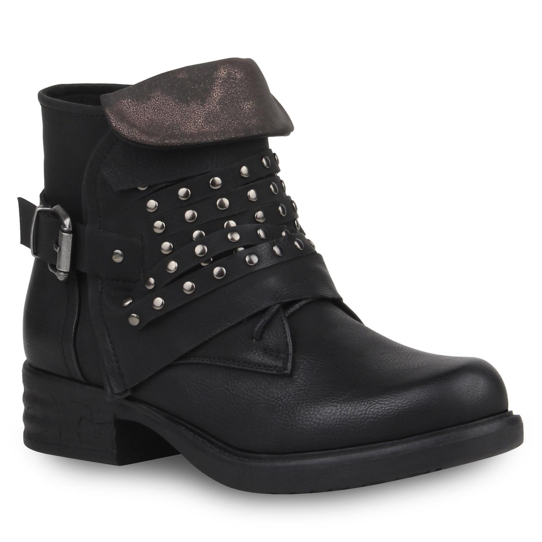 damen stiefeletten biker boots nieten schuhe lederoptik 77291 ebay. Black Bedroom Furniture Sets. Home Design Ideas