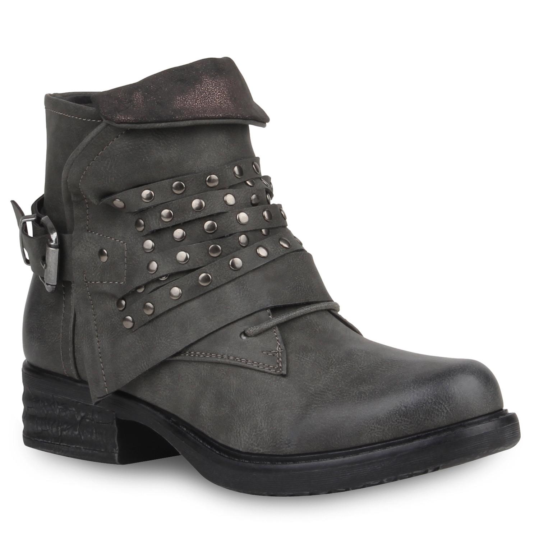 damen stiefeletten biker boots nieten schuhe lederoptik. Black Bedroom Furniture Sets. Home Design Ideas