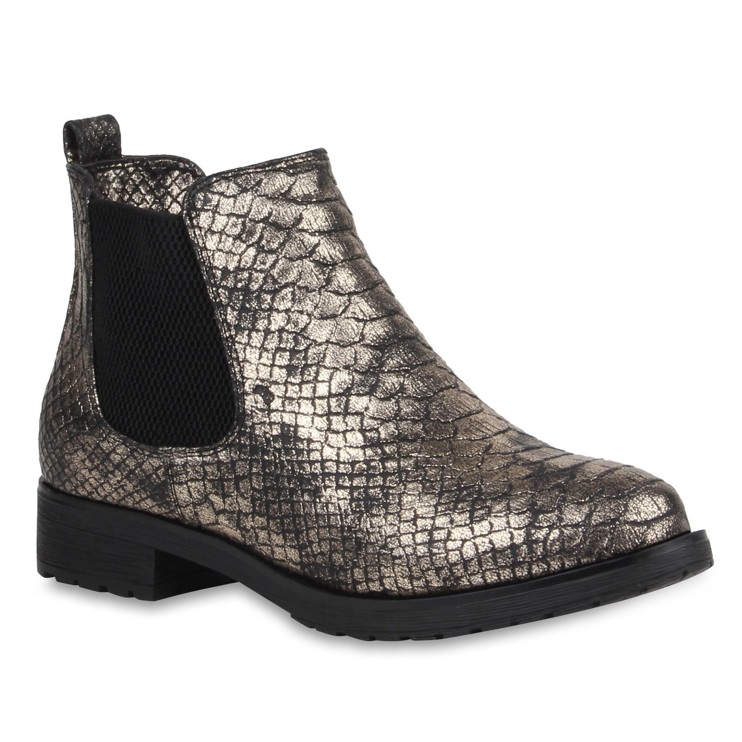 gef tterte damen stiefeletten metallic snake print chelsea. Black Bedroom Furniture Sets. Home Design Ideas
