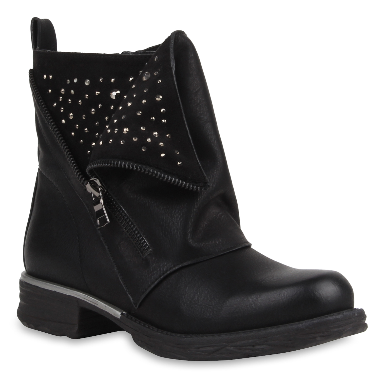 casual femmes bottines biker boots strass zipper 77356 new look ebay. Black Bedroom Furniture Sets. Home Design Ideas
