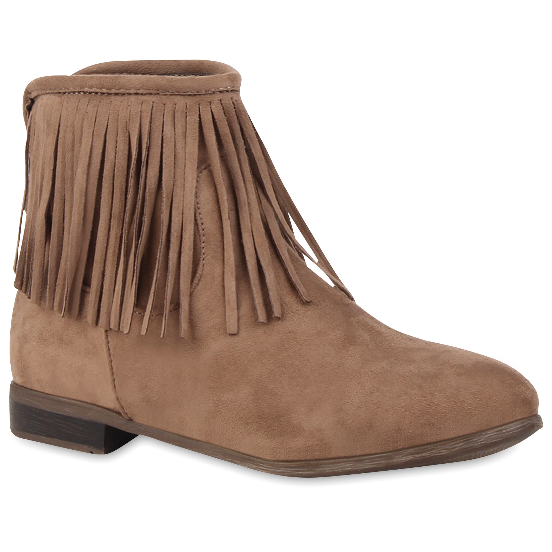 flache damen stiefeletten fransen boots wildlederoptik. Black Bedroom Furniture Sets. Home Design Ideas