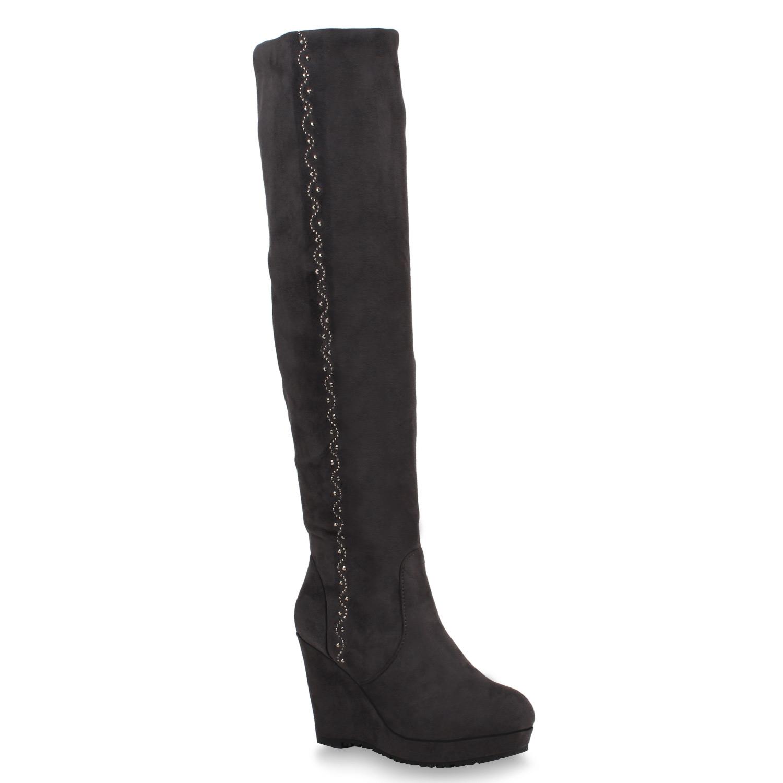 damen stiefel keilabsatz overknees plateau boots 77472 new. Black Bedroom Furniture Sets. Home Design Ideas