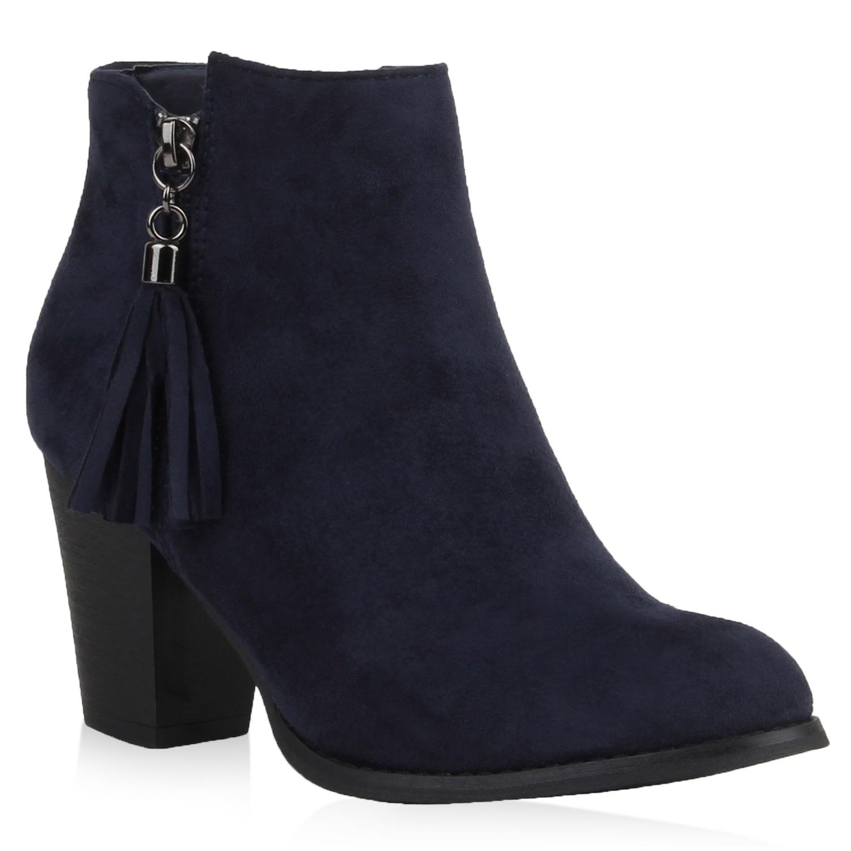 damen stiefeletten ankle boots quasten blockabsatz schuhe. Black Bedroom Furniture Sets. Home Design Ideas