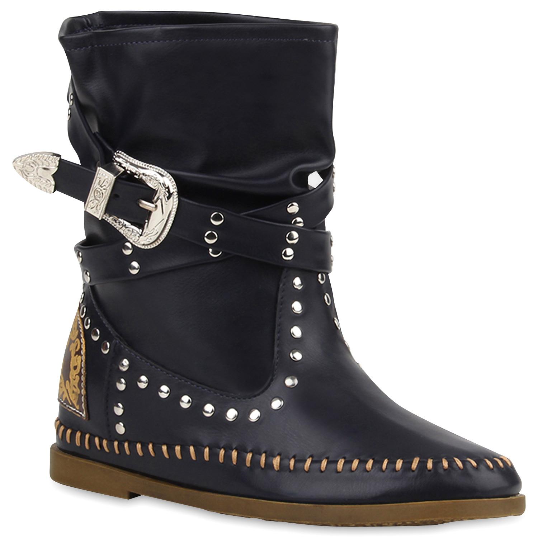 Trendy Stiefeletten Damen Schuhe Schnürer Boots Stiefel 0346 Schwarz 36