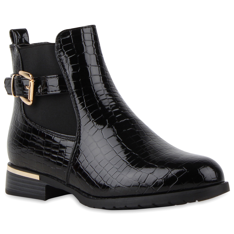 damen stiefeletten lack chelsea boots flache stiefel 77544. Black Bedroom Furniture Sets. Home Design Ideas