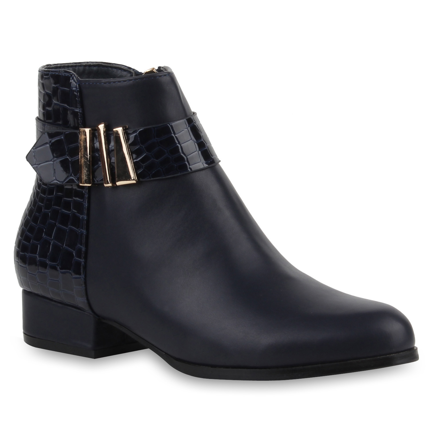 flache damen stiefeletten materialmix lack boots 77614 ebay. Black Bedroom Furniture Sets. Home Design Ideas