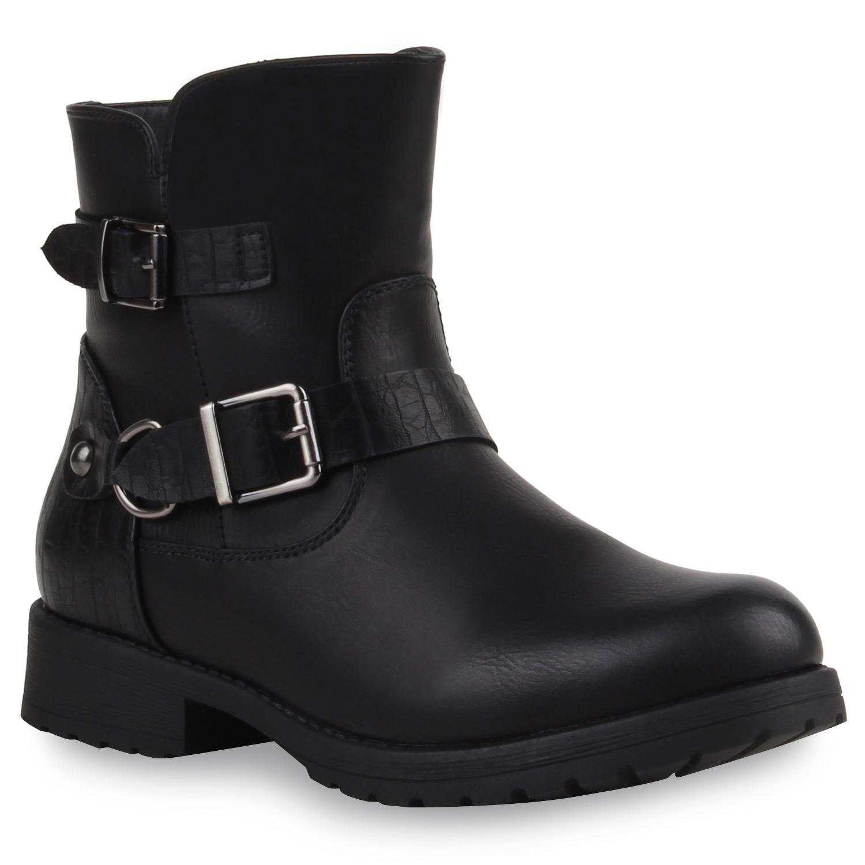 damen biker boots nieten stiefeletten schuhe 98064 gr 36 41. Black Bedroom Furniture Sets. Home Design Ideas