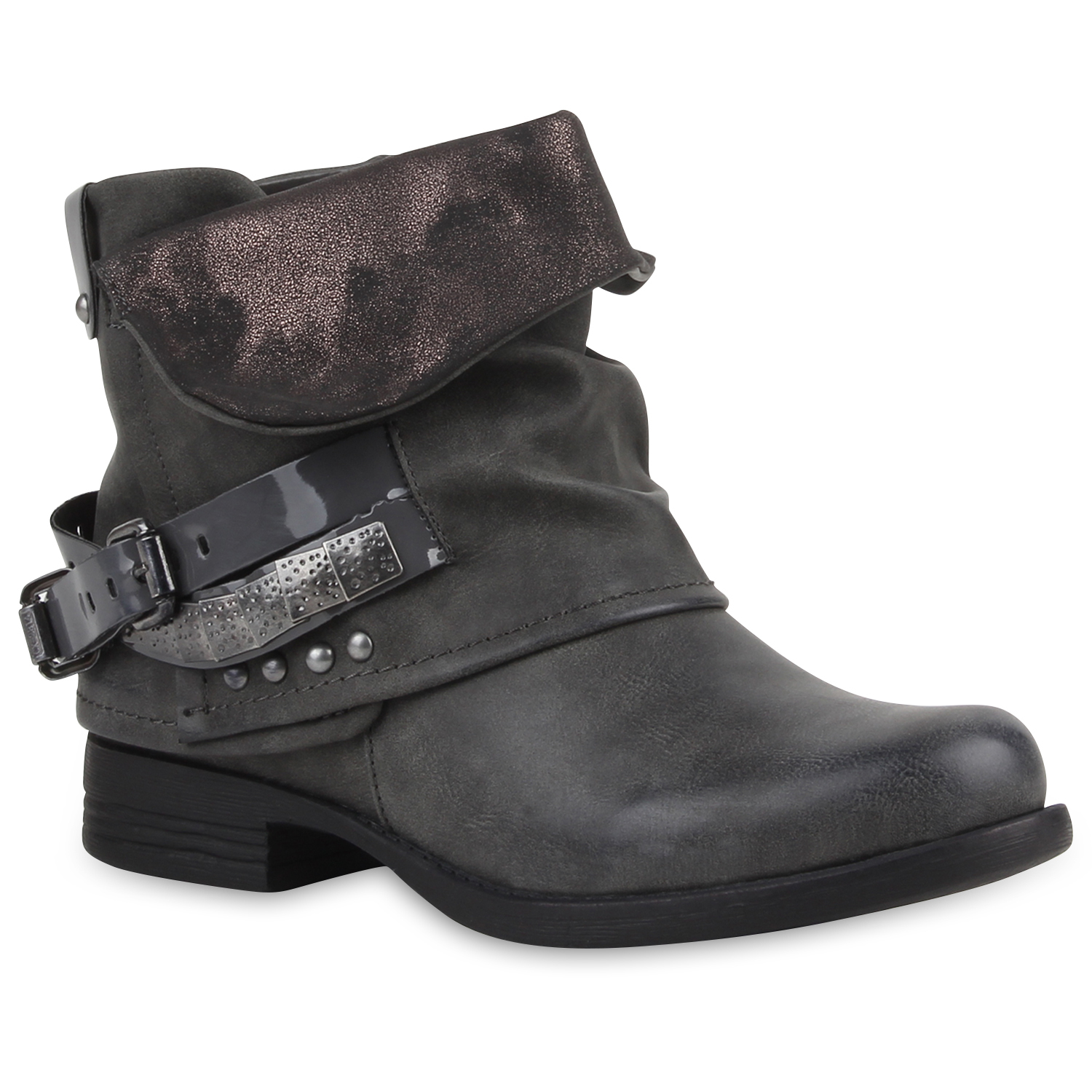 stylische damen stiefeletten stiefel biker boots metallic. Black Bedroom Furniture Sets. Home Design Ideas