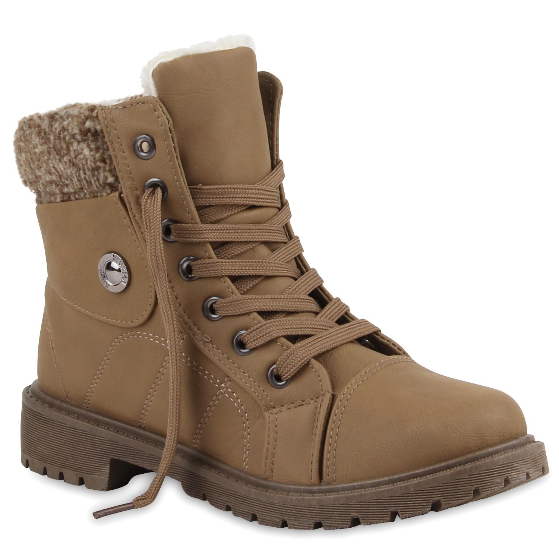 Warme-Damen-Stiefeletten-Outdoor-Schnuerer-Schuhe-Gefuettert-70105-Gr-35-41