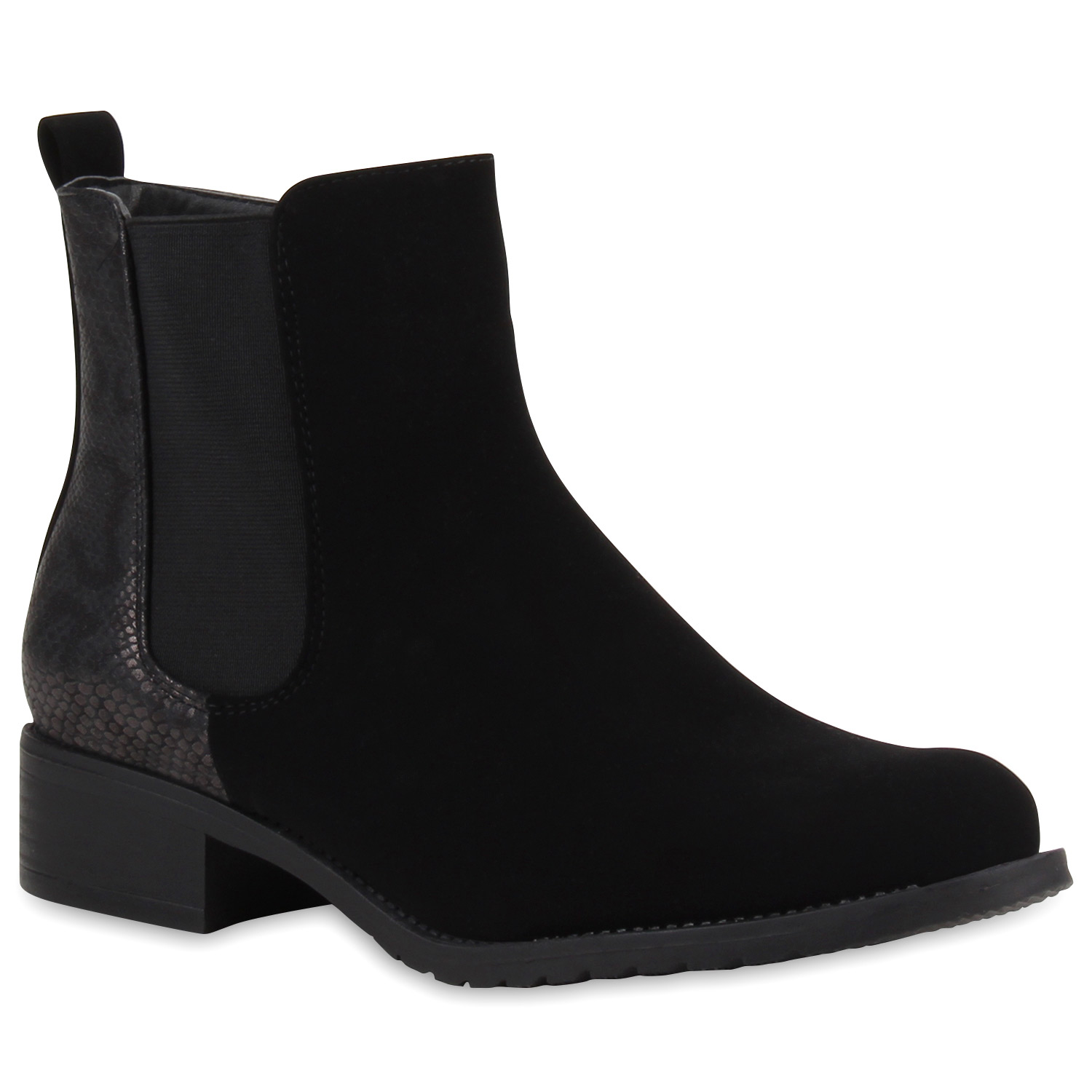 gef tterte damen stiefeletten chelsea boots schwarz 77736 ebay. Black Bedroom Furniture Sets. Home Design Ideas