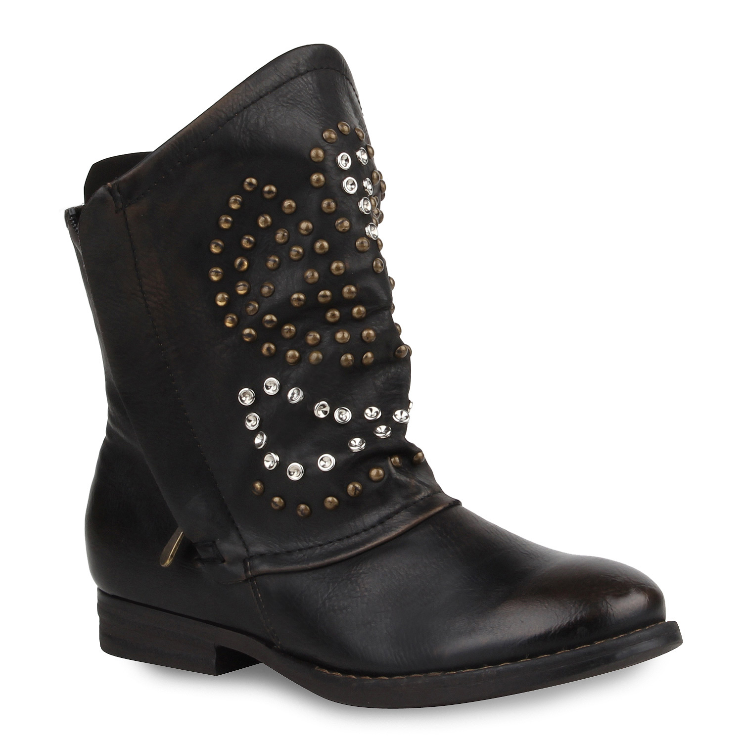 damen stiefeletten stiefel biker boots nieten blockabsatz 77853 ebay. Black Bedroom Furniture Sets. Home Design Ideas