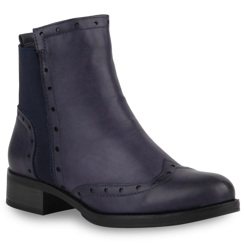 Damen Stiefeletten Chelsea Boots Dandy Style Brogues 77870 ...