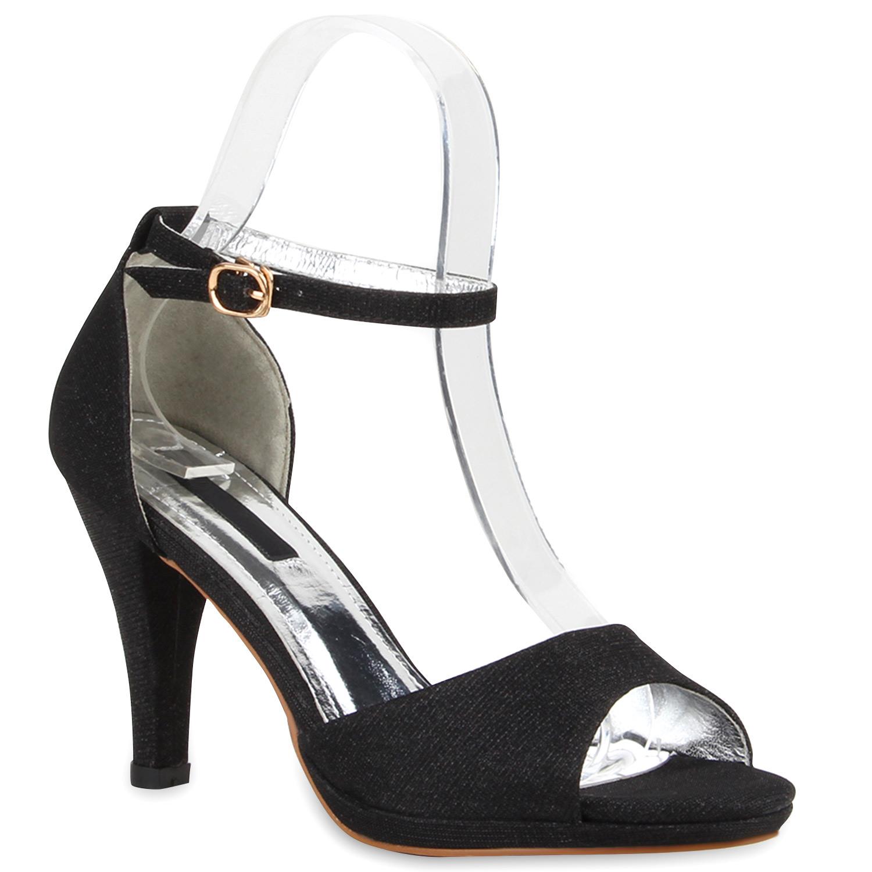 damen party sandaletten glitzer high heels riemchen. Black Bedroom Furniture Sets. Home Design Ideas