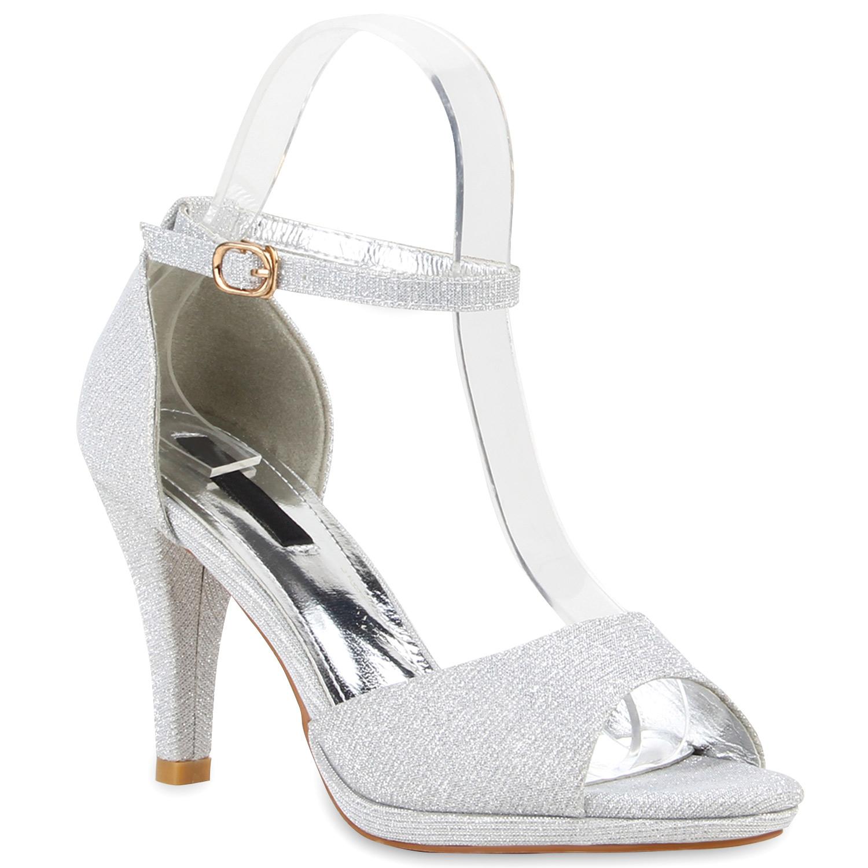 damen party sandaletten glitzer high heels riemchen stilettos 77907. Black Bedroom Furniture Sets. Home Design Ideas