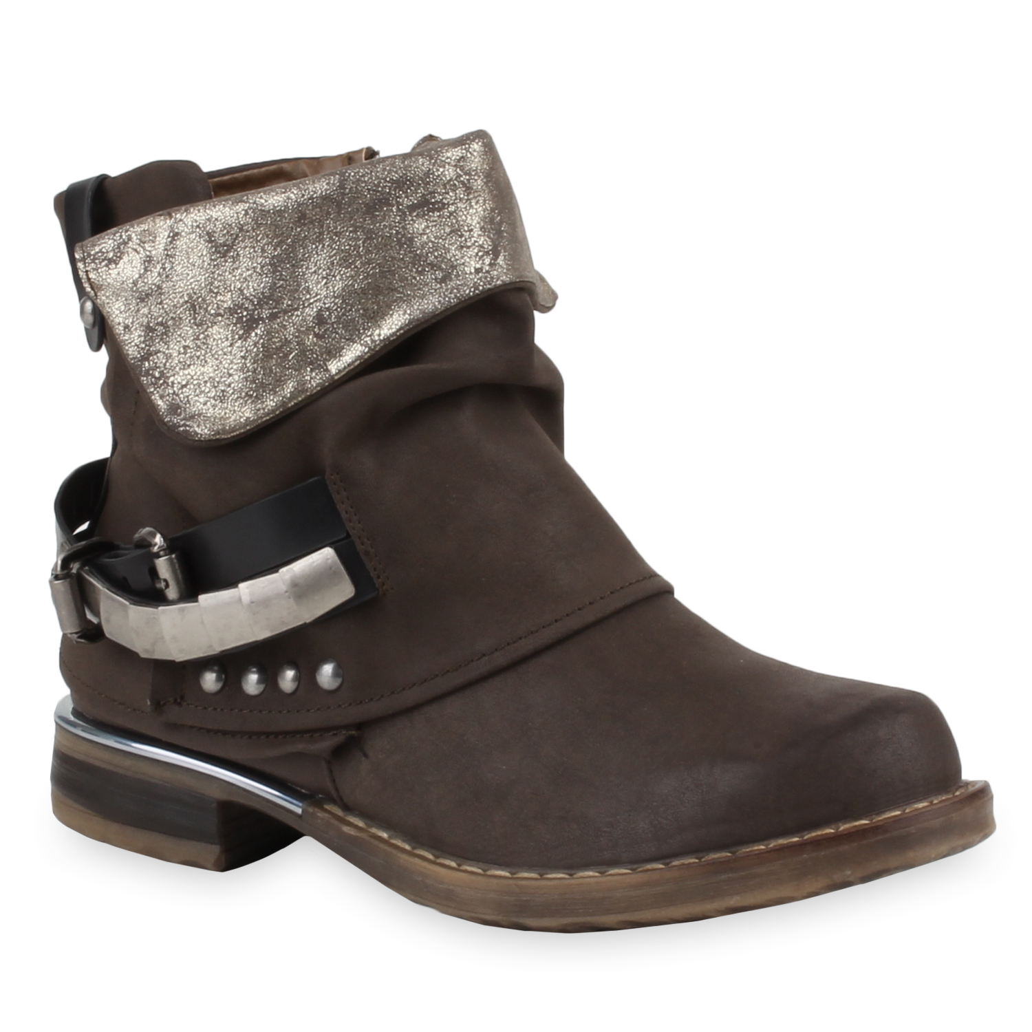 stylische damen stiefeletten stiefel biker boots metallic nieten 77659 new look ebay. Black Bedroom Furniture Sets. Home Design Ideas
