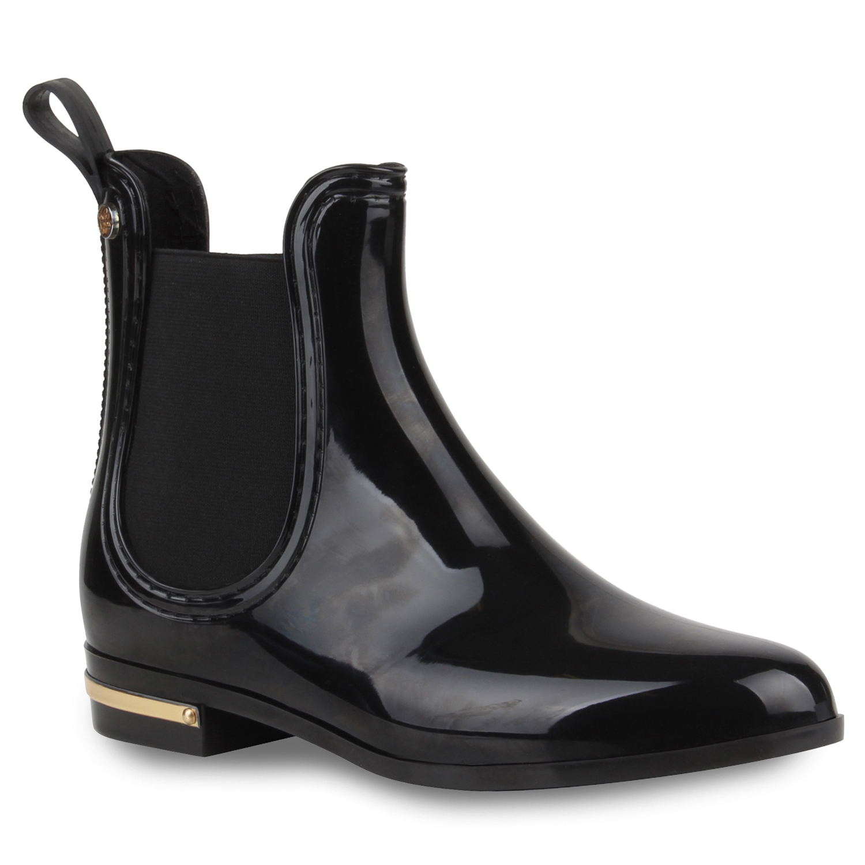 damen lack stiefeletten gummistiefel chelsea boots schuhe 99491 gr 36 41 ebay