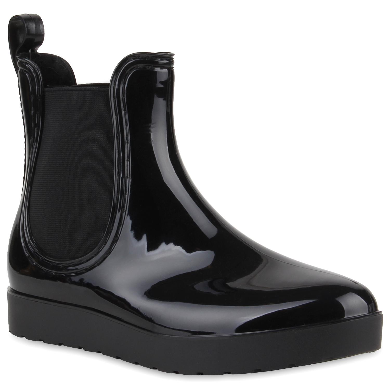 modische damen gummistiefel regenschuhe gr 36 41 chelsea boots 890371 trendy ebay. Black Bedroom Furniture Sets. Home Design Ideas