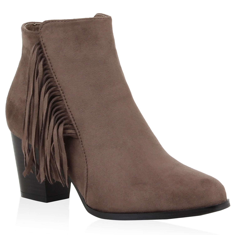 modische damen stiefeletten ankle boots fransen. Black Bedroom Furniture Sets. Home Design Ideas