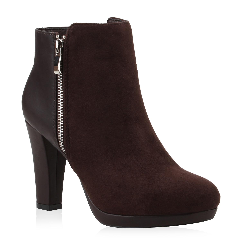 damen stiefeletten blockabsatz boots zipper plateau schuhe. Black Bedroom Furniture Sets. Home Design Ideas